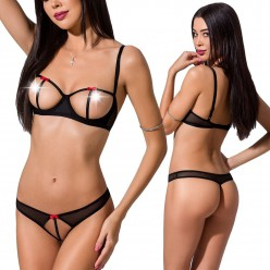 Heidi Set With Open Bra Black